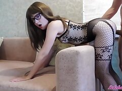 Babe in Glasses Blowjob Big Cock and Imprecise Doggy Intrigue b passion - Cum on Face