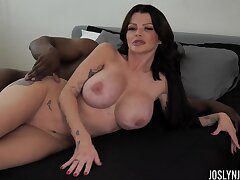Right after fascinating sideways abnormal big breasted MILF Joslyn James rides BBC