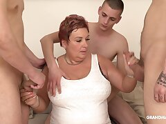 Wealthy old woman pays for gangbang close to three young guys
