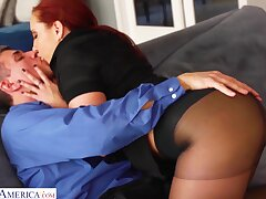 Lit up red haired woman Kelly Divine gets her pussy fucked back ripped pantyhose