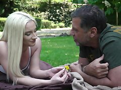Out in put emphasize park, vivacious blonde Angela Vital makes an older guy's day