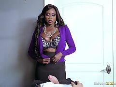 Ebony MILF uses her skills to devour massive white penis