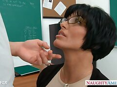 Strict teacher Shay Fox turned out to be a good cock victim coupled with edacious pro