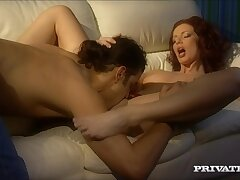 Pale redhead Marsha Lord gets pain in the neck fucked by her horny husband