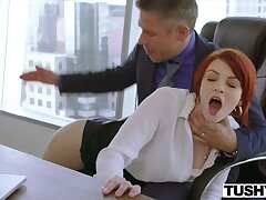 Redhead Secretary Bree Tries Ass be beneficial to Raise!