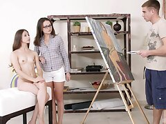Sweet girls Stefany together with Alina enjoy having anal FFM threesome