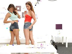 Sara Luvv and Teddi Rae make a porn video with a lucky dude