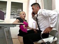 MMF threesome with stunning Lola Taylor and her horny boss