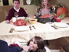 Dad's GIRLFRIEND deep-throat sonny off his unworthy of the table