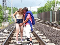 Slutty teen babe Alexis Crystal pussy fucked doggy style outdoors