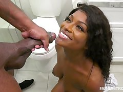 Curly haired lowering cutie impaled and cum sprayed overwrought a big black locate