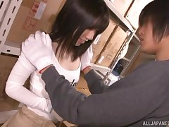 Asian teen babe Urumi Narumi striped and fucked in a warehouse
