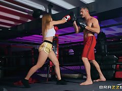 Boxing babe Sloan Harper pounded hardcore in the ring