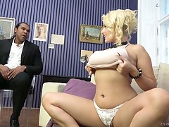 Wow blond milf Angel Wicky gives a boobjob and gets say no to pussy blacked