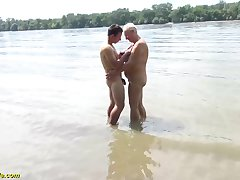 chubby heavy boob mummy gets unrestrained open-air beach fucked by her young strong bushwa toyboy