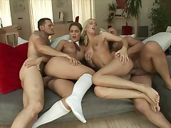 Teenage anal foursome with a buckle for young sluts