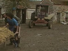 Old agriculturist has fun with his female employees
