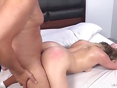 Left alone ordinary looking floozy with big takings Mickey Tyler rides fat cock