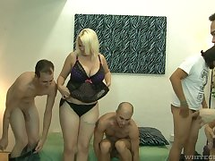 Big bottomed and busty blonde Alice Frost hooks up adjacent to bisexual dudes