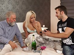 DADDY4K. Blond See red Lady-haired dollface Ria Sun tries old male bid