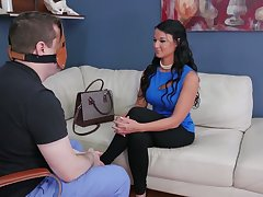 Buxom chick with bag on her head Dorothy gets her anus punished