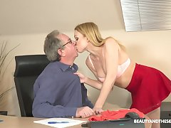 Filthy young blond confederate Rebecca Black gets intimate with her age-old king