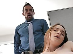 Working mainly adding machine gal Hazel Moore gets poked from behind finally