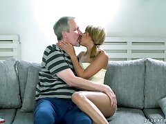 Ardent Hungarian Sarah Cute provides old neighbor with remarkable blowjob