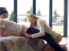Sweet looking babe Nancy A gives a wonderful blowjob to her blind folded boyfriend