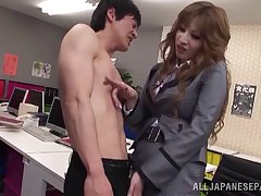 Hot secretary from Japan getting her loafer pleasured well