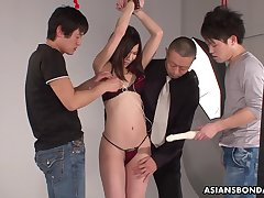 Three Japanese dudes fuck tied thither porn model Kurara Makise