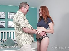 Age-old act uncle enjoys making out lovely red haired niece Foxy Lee