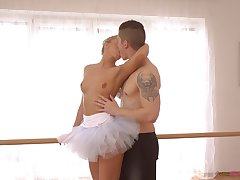 Cute ballerina in tutu Victoria Pure gives a good ride just right the floor