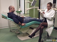 Female doctor Candy Alexa in stockings helping her patient cum