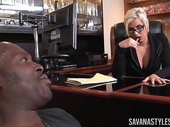Business lass Savana Styles invited her black lover to her office
