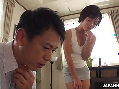 Pretty Asian babe Hasumi gets put forth give elder statesman man