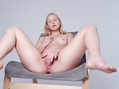 Hot cutie pie likes feeling her soft pussy stiffish