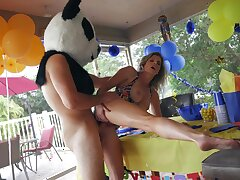 Panda bear with giant dick, hard sex with rub-down the birthday girl's hot ma